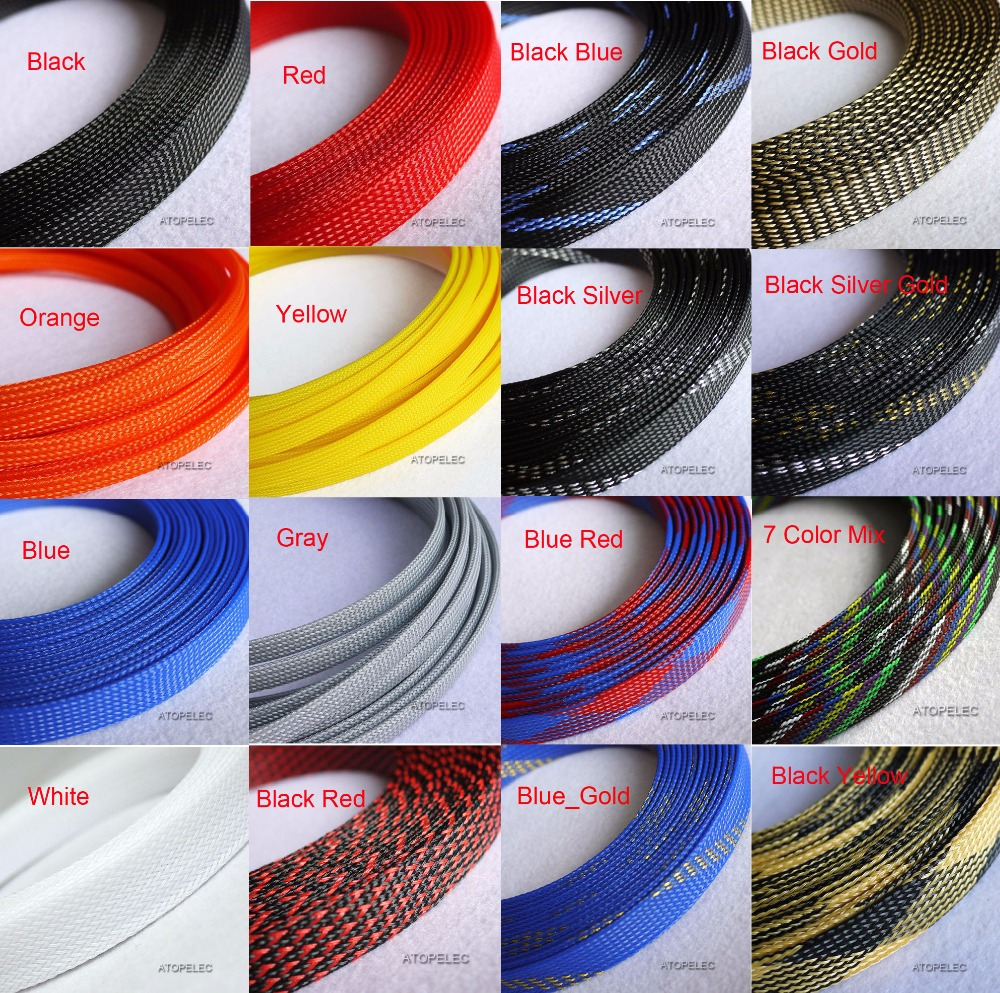 "16MM 5/8"" TIGHT Braided PET Expandable Sleeving Cable Wire Sheath Black/Red/Orange/Yellow/Green/Blue/Purple/Gray/White/Clear"