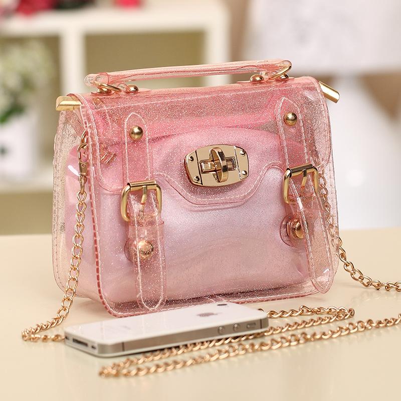 Women Jelly bags 2016 original Lolita Style Transparent handbag candy color totes chain bag mini wristlet Beach Crossbody bag(China (Mainland))