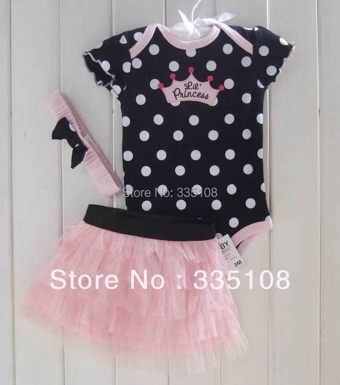 Retail Hot sale Baby girls 3 Piece Suits short Romper +Tutu Skirt + Headband Polka-dot baby summer clotheing girls skirt set(China (Mainland))
