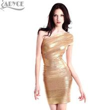 2016 new women one shoulder celebrity gold foil bandage dresses sexy prom ladies party drop shiping HL - Guangzhou Ladyce Dress Co., Ltd store