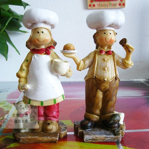 Free shipping wholesale and retail handcraft painted decoration one pair of pastry cook couple/ christmas gift
