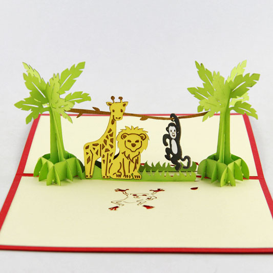 Cubic life lovely zoo three-dimensional greeting card birthday gift idea custom wish children Korea(China (Mainland))