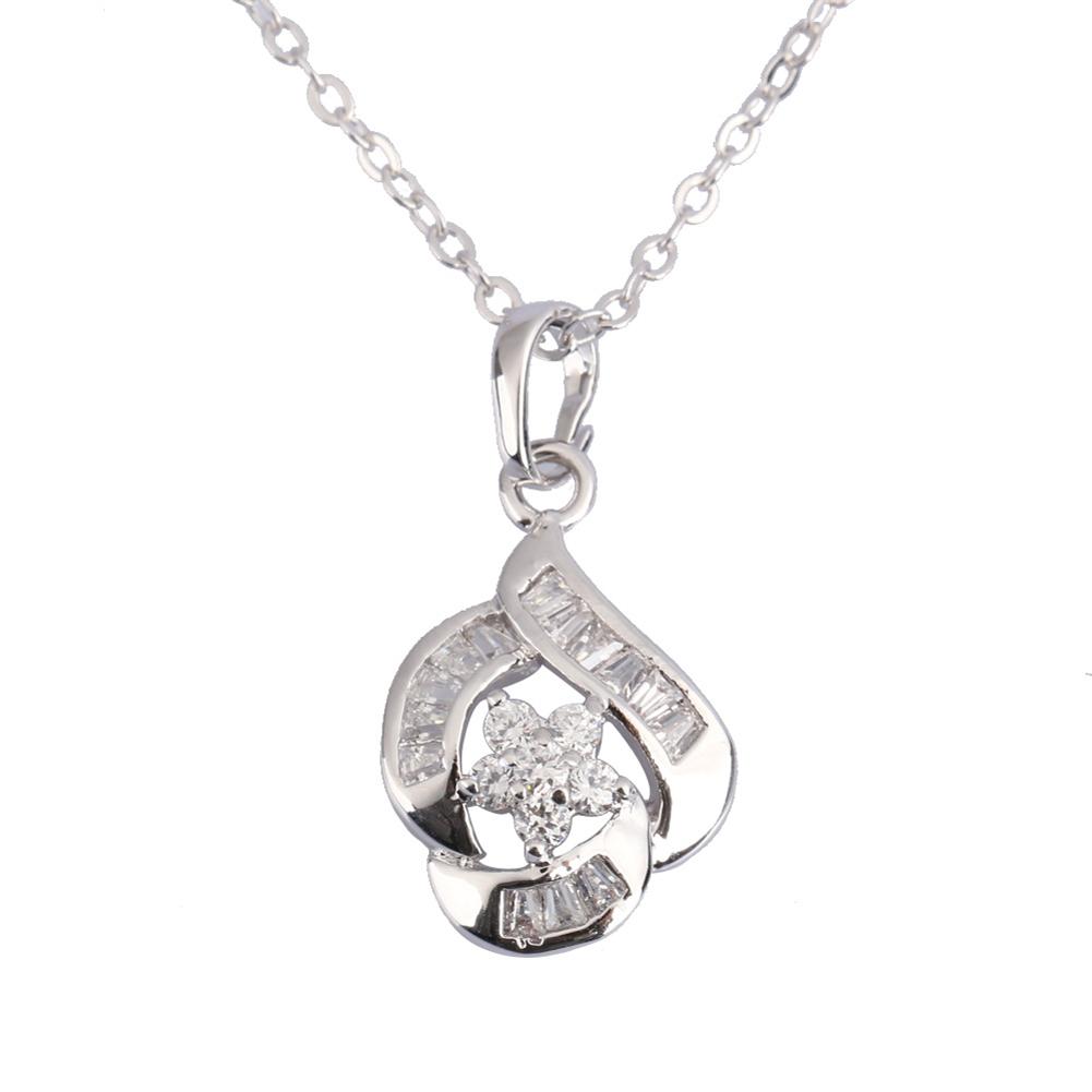 New Design Silver Imitation Rhinestone Crystal Flower Pendant Necklace Fashion Party Jewelry Beautiful Christmas Gift Hi(China (Mainland))