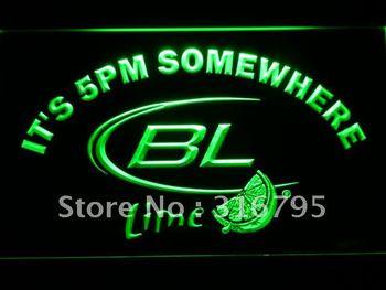 679-g It's 5 pm Somewhere Bud Lite Lime LED Neon Light Sign