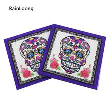 [RainLoong] Printed Feature Skull Paper Napkin Event & Party Supplies Tissue Decoration Servilleta 33cm*33cm 20pcs/pack/lot(China (Mainland))