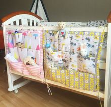 Baby Cot Bed Hanging Storage Bag ,Crib Organizer 60*50cm Toy Diaper Pocket for Crib Bedding Set Free Shipping