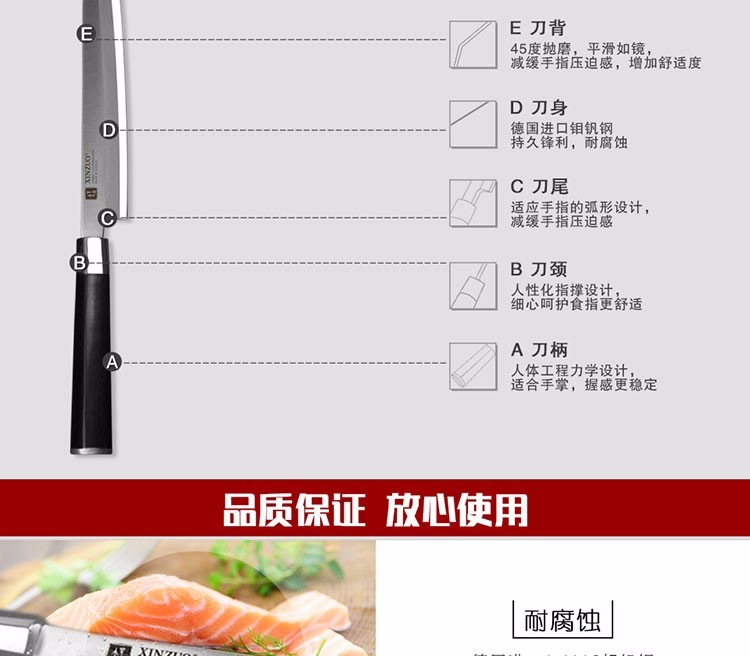 Buy XINZUO 9.5 inch sashimi knife scabbard German steel chef knife one-sided cleaver knife Japanese knife ebony handle free shipping cheap