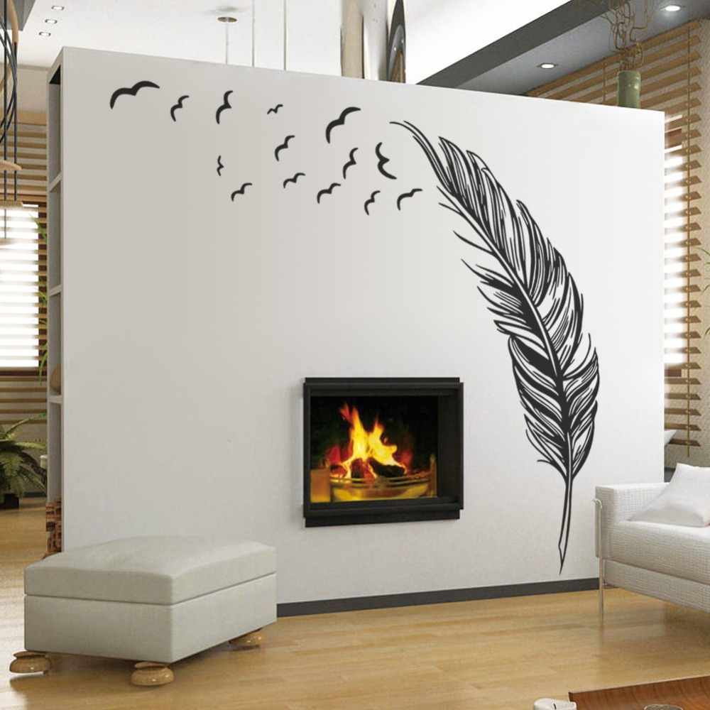 large feather plant living room sticker 3d wall stickers. Black Bedroom Furniture Sets. Home Design Ideas