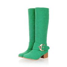 Nuevo de las mujeres de estilo occidental de alto de rodilla botas de invierno cálido mujeres Botas de Punta Redonda tacón cuadrado botas de nieve Zapatos de mujer(China (Mainland))
