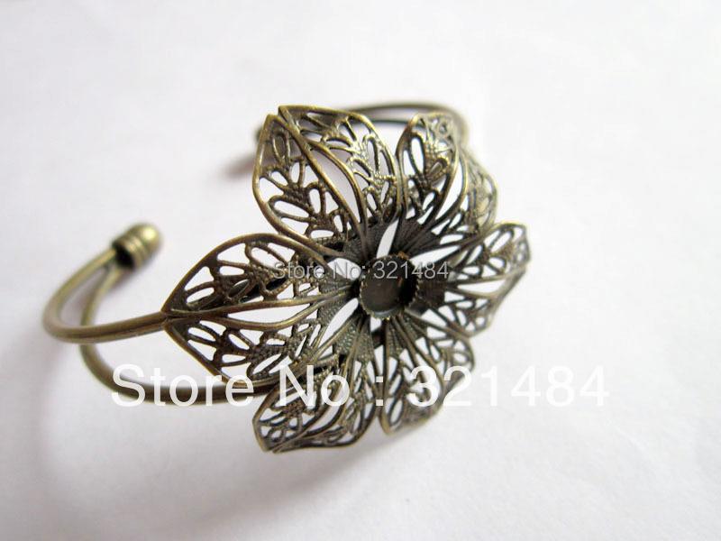 Bulk 100piece lot Antique bronze 6mm Cameo Cabochon Setting Bezels Filigree Flower Brass Cuff Bracelet Blanks