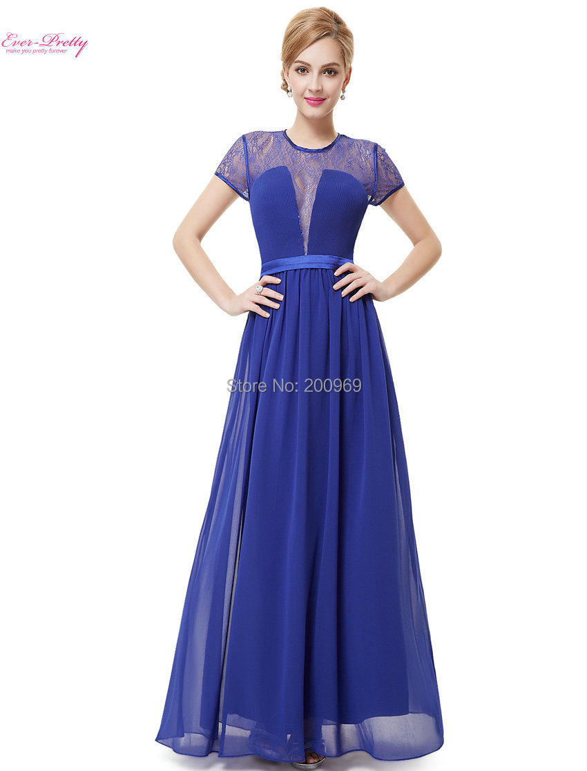 Women Short Sleeve Sheer Padded Lacy Blue Long Evening Party Dress 2015 Vestido HE08432SB Fast Shipping(China (Mainland))