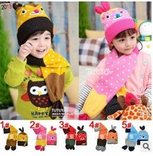 1SET Cute Baby Hat Scarf Sets Children Knitted Acrylic  Cap Scarf Earflap Accessoriesold  Free Shipping #906(China (Mainland))