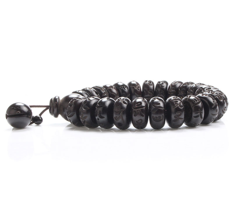Tibetan Buddhist Black Jujube Buddha Bracelet Yoga Wooden Beads Mala Charm Beads Bracelets For Men Women Jewelry Pulseras Hombre