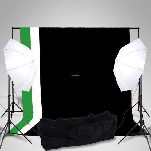 Photo Studio Black White Green Screen Backdrop Support Set Umbrella Lighting Kit<br><br>Aliexpress