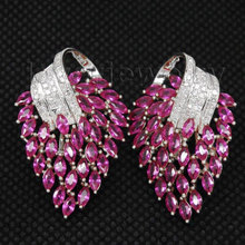 2016 Festival Solid 18Kt White Gold Diamond Pink Ruby Earrings E00153A(China (Mainland))