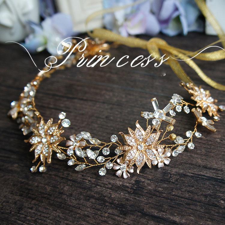 Здесь можно купить  Ribbon Pearls Sun Flower Clear Rhinestones Gold Leaf Wedding Hair Vine Headband Bridal Headpiece  Ювелирные изделия и часы
