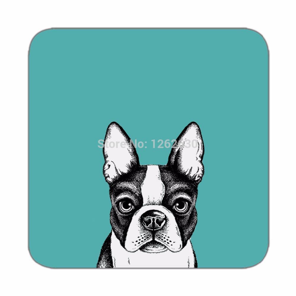 Black Cute Bulldog Pet Art Pattern Print Custom Mat Drink Tea Cup Cork Coasters Pack of 4(China (Mainland))