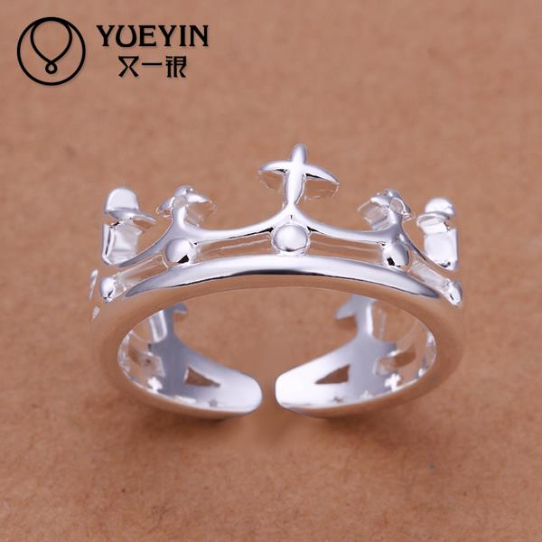 R189 Promotion Korean Elegant Jewelry s Silver Crown Rings For Women, Wedding Engagement Ring For Couple(China (Mainland))