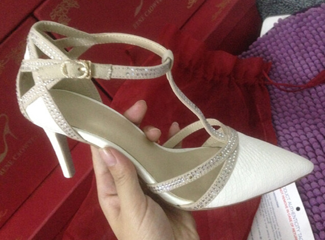Pointed shoes buckle word spring 2015 Rhinestone sandals pumps with fine ladies shoes