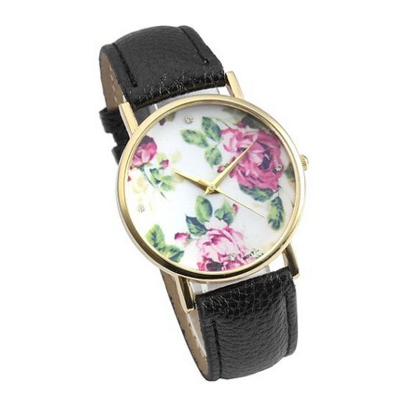 Women's Fashion Rose PU Leather Band Quartz Analog Wrist Watches Watch(China (Mainland))