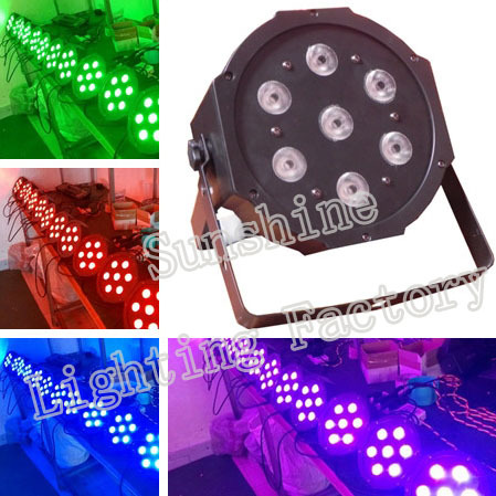 Hot selling Cheap 7*12w RGBW 4 in 1 Led Flat Par Can, Quad Color Led Wash Light for Stage Club DJ Disco KTV Night Bar Home Party(China (Mainland))