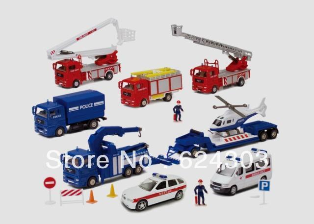 Police car ambulance engineering car set i car model toy 0680 - 02(China (Mainland))
