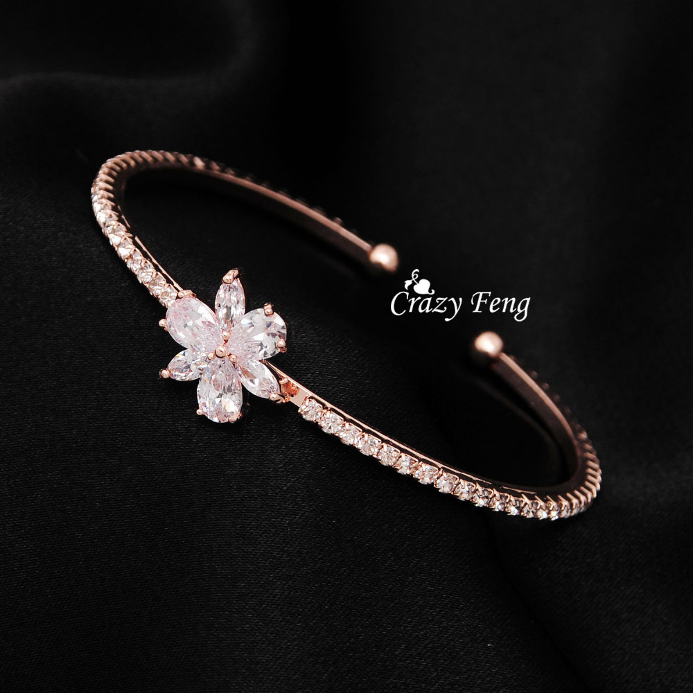 Brand Design Wedding Zircon <font><b>Bangle</b></font> 18K Rose Gold Plated Bracelets <font><b>Bangles</b></font> for Women Fashion Jewelry Cuff <font><b>Bangle</b></font> Free Shipping