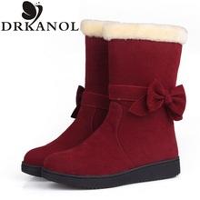 2016 nuevas mujeres de la llegada botas de nieve sólido bowtie slip on flat invierno mitad de la pantorrilla mujeres calientes botas de algodón femeninos acolchado zapatos(China (Mainland))