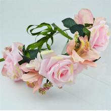 Fashion Wedding Headband Kids Party Garlands Handmade Ribbon Adjustable Flower Crown Hawaii Flower Wreath Girls Hat