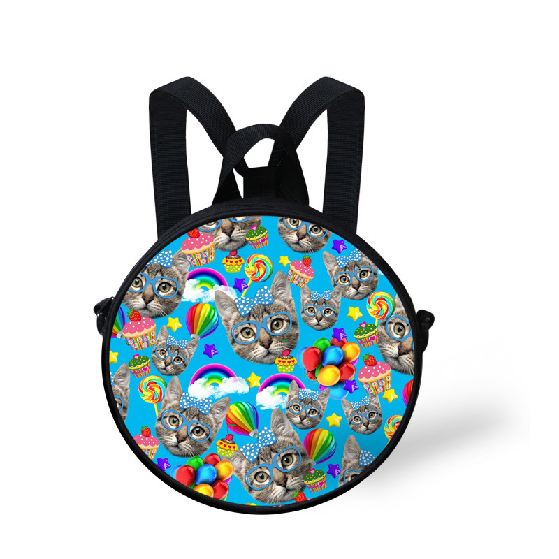 Glasses Cats Puzzle Round Kids Bags 3D Animals Printing Bgas Children Daily Bags Outdoor portable bags for Girls and Boys(China (Mainland))