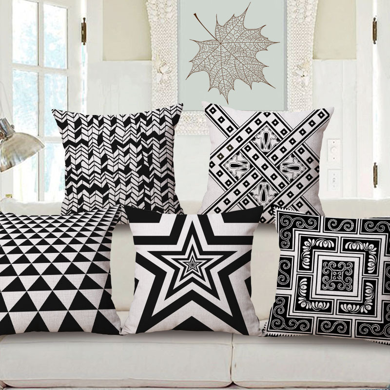45cm 200g Nordic Black 3D Star Pop Thick Fashion Cotton Linen Throw Pillow Hot Sale 18 Inch New Home Decor Sofa Back Cushion MQQ