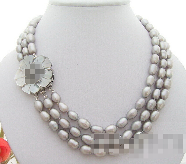 FREE SHIPPING hot sale~~~~~~ 3Strds 10x8mm Grey Pearl Necklace(China (Mainland))