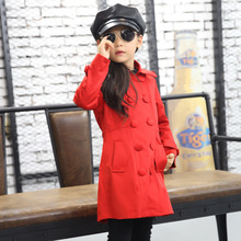 2016 Autumn Girls Outwear Coats Warm Toddler Windbreaker Popular Red Children Girls Polo Shirt Kids Long Sleeve Dress Trench(China (Mainland))