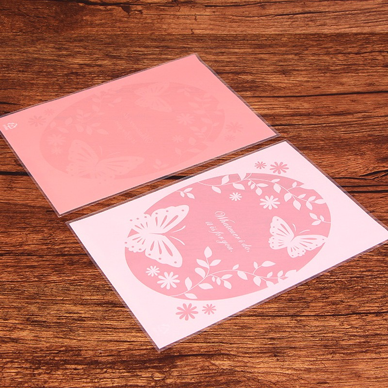 50pcs Butterfly and Flower Pink Cookies Biscuits Bags Self Adhesive ...