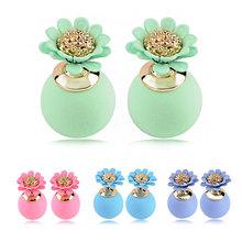 Famous Brand Summer Style Fashion Ear Ring Double Imitation Pearl Earrings Flower Piercing Double Sided Earrings oorbellen