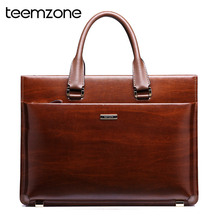teemzone Men's Genuine Leather High End Business Briefcase Messenger Laptop Case Attache Bag Brown  attache portfolio tote(China (Mainland))