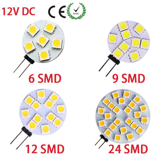 1x Led G4 Side-pins 12V DC 6/9/12/24LEDs 5050 Round Range Hood Bulb Lighting Energy Saving Boat Ship Automotive Camper Light(China (Mainland))