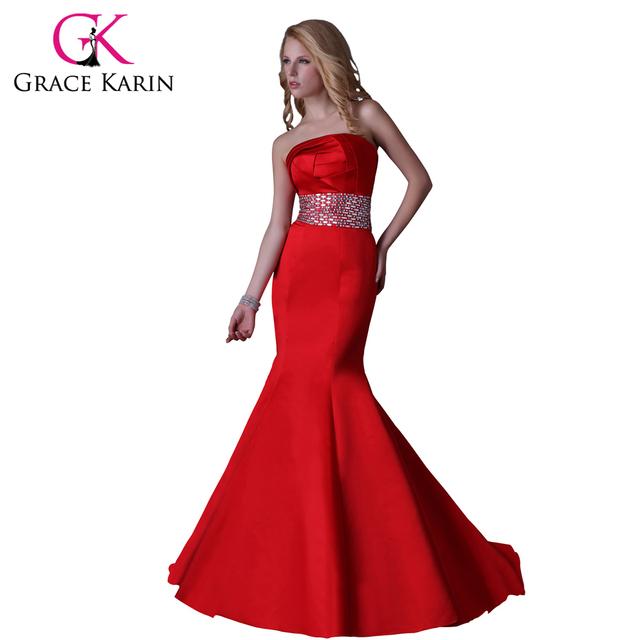 Грейс карин дизайнер атласная русалка труба красный вечернее платье бисероплетение ...
