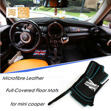Waterproof microfibre leather Full-covered floor mats union jack checker flag for mini cooper countryman clubman f55 f56 paceman(China (Mainland))
