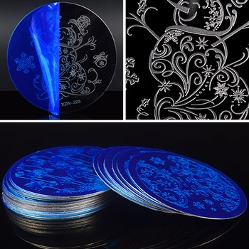 WUF 1 Pc DIY Flower Lace Line Patterns Round Steel Templates Nail Art Stamping Plates For Nails Tips Nails Tool Accessories