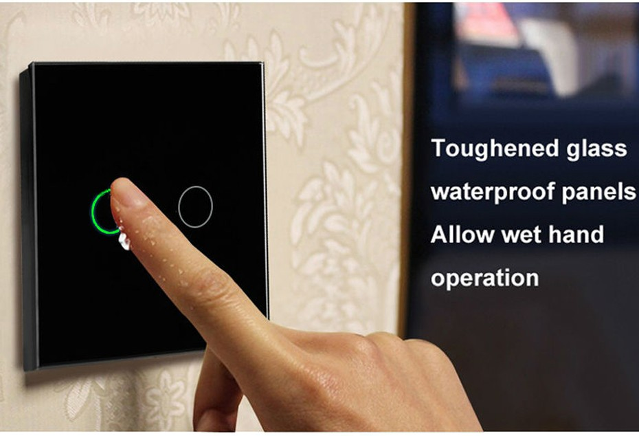 2016 Hot Sale EU Standard Touch Switch 2 Gang 1 Way,Crystal Glass Switch Panel,Single FireWire touch sensing wall switch