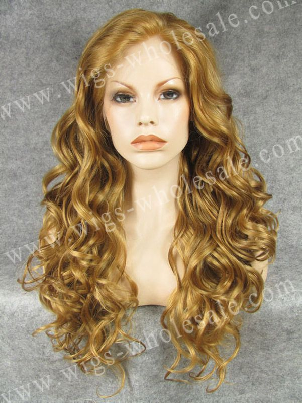 Taylor Swift Hairstyle Nice Elegant Long Wavy Honey Blonde Synthetic Lace Front Wig(China (Mainland))