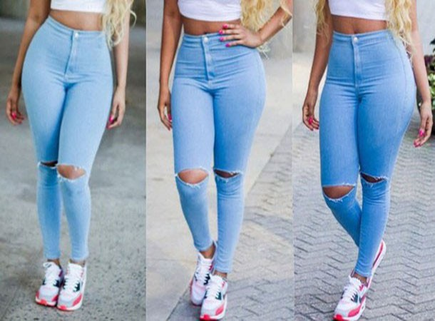 high waist jeans with rips | Gommap Blog