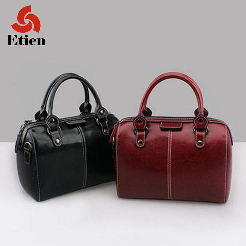 Woman bag shoulder boston Fashion Handbag sportable lady's bag made of genuine leather Big luxury travel tote messenger purses(China (Mainland))