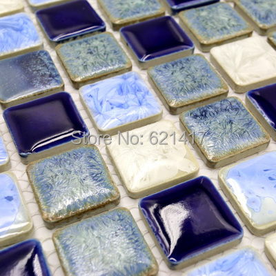 Deep blue white polished porcelain ceramic tiles mosaic HMCM1009D kitchen backsplashl tile bathroom floor tiles wall tiles(China (Mainland))