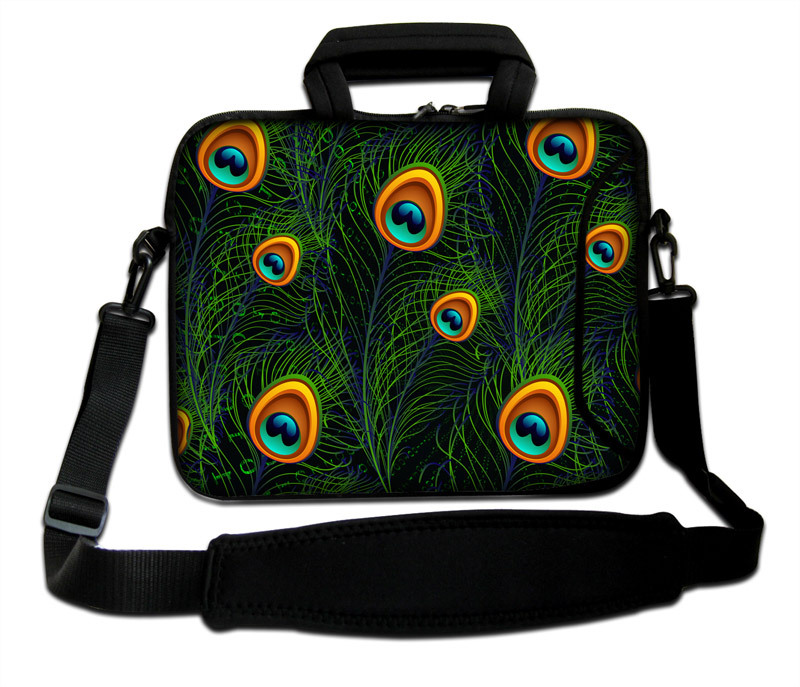 """10""""13""""14""""15""""17"""" Neoprene Green Peacock Tail Type Computer Shoulder Messenger Cover Forder Notebook Sling Sleeve Pouch For Intel(China (Mainland))"""