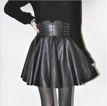 Hot sale 2014 autumn winter New sale Women's Boutique Fashion Punk Rivet PU Leather Skirt
