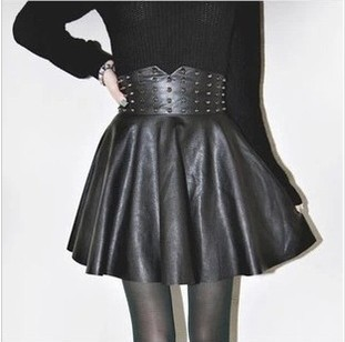 Hot sale 2014 autumn winter New sale Women's Boutique Fashion Punk Rivet PU Leather Skirt(China (Mainland))