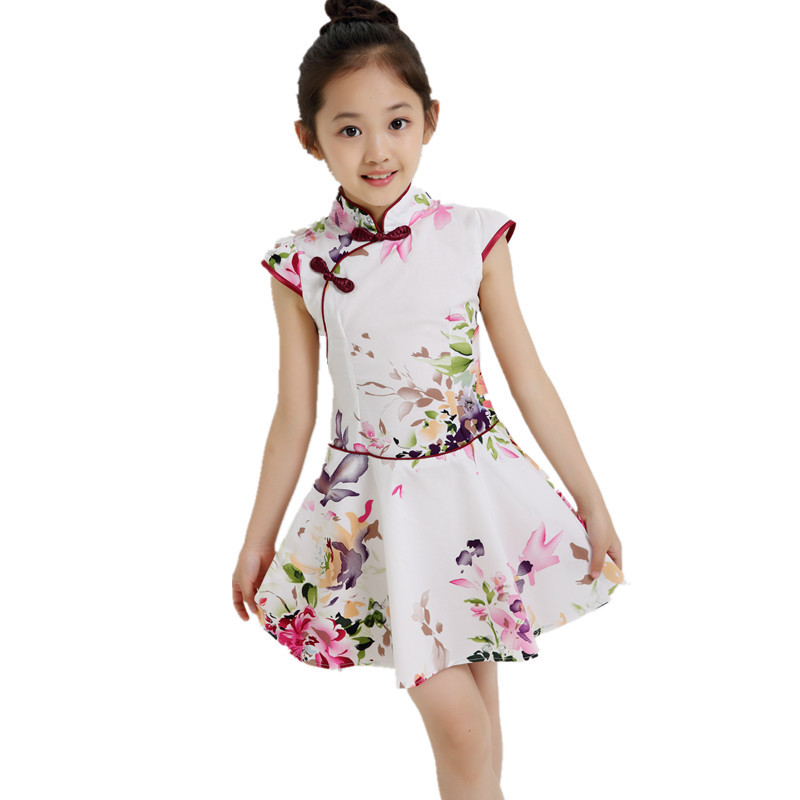 3-14Y Summer Baby Girls Dresses Party Vintage Chinese Traditional Dress Cheongsam Wedding Next Costume Casual Children Clothing(China (Mainland))