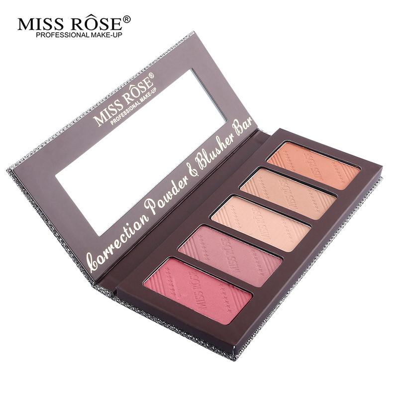 Rosto nu maquiagem cosméticos suave elegante rosto Blush em pó paleta Bronzer Blush Contour fundação Base de sombra Colorete